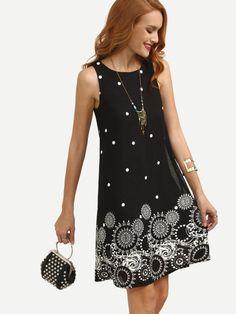 43aff01aa9f Black Polka Dot Print Sleeveless Shift Dress Vestido Hippie Chic