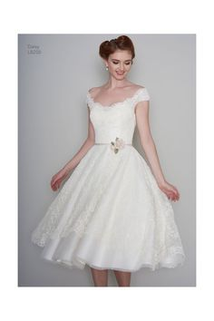 DAISY-RAE Tea Length 1950s Vintage Style Short Wedding Dress In Lace With Cap Sleeve