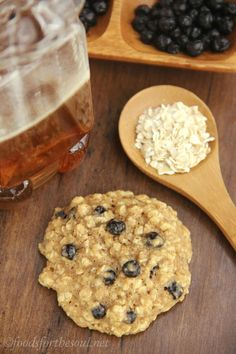 Clean-Eating Blueberry Oatmeal Cookies; I used dried cranberries instead of blueberries. 3/4 of a cup of 'em