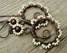 All Copper Wire Wrapped Hammered and Beaded by BearRunOriginals