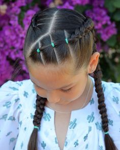 Dutch braids with elastics for a birthday party Have a great day! Dutch braids with elastics for a birthday party Have a great day! Girls Hairdos, Cute Little Girl Hairstyles, Girls Natural Hairstyles, Kids Braided Hairstyles, Cute Girls Hairstyles, Natural Hair Styles, Long Hair Styles, Toddler Hairstyles, Prom Hairstyles