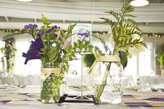 Purple seed packet wedding table numbers by RebeccaADesigns.