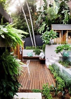 tropical garden Small garden inspiration - Homes, Bathroom, Kitchen amp; Small Backyard Gardens, Backyard Garden Design, Small Backyard Landscaping, Small Garden Design, Small Gardens, Backyard Patio, Outdoor Gardens, Backyard Ideas, Modern Backyard