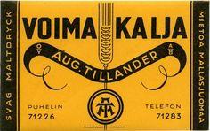 Voimakalja, Aug. Tillander, #olut #etiketit #beer #labels