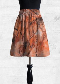 Crafted from premium silken cupro, this gathered a-line skirt features a flexible elastic waistband and a hand-designed custom print. Wear at your natural waist for the skirt to fall just above the knee or on the hips for the skirt to fall just below. Fall Skirts, A Line Skirts, Autumn Leaves, Tie Dye Skirt, Black And Brown, Fashion Art, Midi Skirt, The Originals, Artist