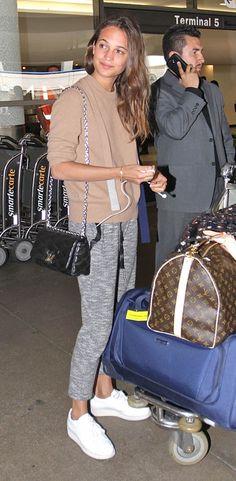 Alicia Vikander's airport style