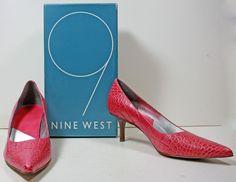 Women's Nine West Pink Leather Croco Pumps Heels sz 10 M ***EUC*** #NineWest #PumpsClassics