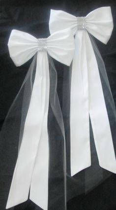 Elegant Pew Bows with Rhinestones and Tulle by naomial