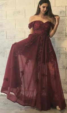 Stylish Burgundy Prom Dress - Off-the-Shoulder Floor-Length with Lace Appliques,Long prom dress,Sexy dress