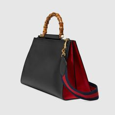 """Gucci Nymphaea leather top handle bag $ 2,690 2 compartments, 2 zips Medium size: 14""""W x 10""""H x 6""""D"""