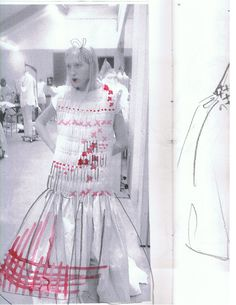 Gingham smocking, with painting sketches over a photograph. Read our guide to the AW15 Molly Goddard show: http://www.dazeddigital.com/fashion/article/23733/1/molly-goddard-aw15