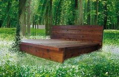 King Rustic Platform Bed Cedar Wood by ArtisanWood11 on Etsy, $1750.00 - this could easily be made out of pallet wood