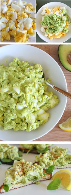 Mayo-free avocado egg salad makes an easy go-to lunch recipe. This easy, recipe requires hardly any time or effort! Vegetarian Sandwich Recipes, Breakfast Sandwich Recipes, Vegetarian Eggs, Avocado Recipes, Lunch Recipes, Cooking Recipes, Avocado Dessert, Avocado Egg Salad, Avocado Breakfast