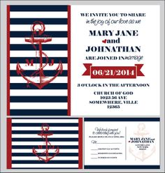 custom wedding invitations nautical by IDoWeddingDesigns47 on Etsy, $1.60