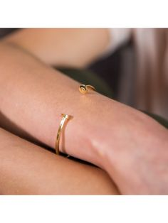 42c49e2a89388f Ternary London TERNARY TIMELESS 18CT GOLD PLATED STERLING SILVER OPEN  BANGLE - PR-A-