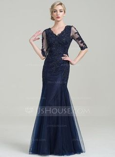 [US$ 193.99] Trumpet/Mermaid V-neck Floor-Length Tulle Mother of the Bride Dress With Beading Appliques Lace Sequins