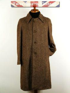 Vintage Harris Tweed balmacaan tweed coat