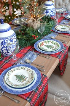 Are you looking for inspiration for christmas inspiration?Browse around this website for unique Christmas inspiration.May the season bring you joy. Blue Christmas Decor, Tartan Christmas, Spode Christmas Tree, Christmas Tree Design, Christmas Dishes, Christmas Tablescapes, Holiday Tables, Christmas Home, Christmas Tree Decorations