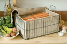 Keep root vegetables like carrots and beets fresh for months in this storage bin. Just fill with layers of damp sand or sawdust, alternating with layers of carrots or beets. Potatoes, turnip and squash can go right in the bin without sand. Food Storage, Produce Storage, Kitchen Storage, Kitchen Decor, Storage Ideas, Storage Solutions, Kitchen Ideas, Diy Kitchen, Kitchen Refacing