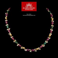 Elegant gold chains for women from Kameswari Jewellers. Shop for antique and designer gold chains online! 1 Gram Gold Jewellery, Ruby Jewelry, Gold Jewellery Design, Bead Jewellery, Silver Jewelry, Jewelry Necklaces, Jade Earrings, Jewellery Shops, Chain Jewelry