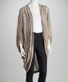 Take a look at this Beige Maze Dolman Open Cardigan by As Is on #zulily today!