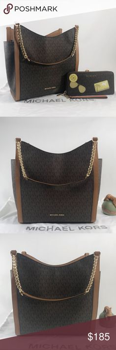 804eabf12ec6 Michael Kors Newbury Tote Set Classic set! Brown signature with gold  detailing. Goes well