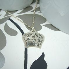 Sterling Silver Etched Jubilee Crown Pendant £50.00