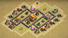 Best Town Hall 4 War, Farming and Hybrid Bases Anti Giants These base designs can defend giants archer and barbarians with ease. Town Hall 4, Super Sell, Clash Of Clans, Farming, Layouts, Base, Design