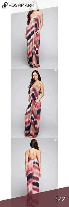 ‼️M/L ONLY‼️Tie Dye Pocket Maxi Dress Casual chic tie dye pocket maxi dress. A must have classic with some style.  100% Rayon Color - Blk/Raspberry.    Size-S/M, M/L Classic Paper Doll Dresses Maxi