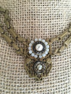 Vintage Brass Festoon with Real Pearl Necklace Nice Design | eBay