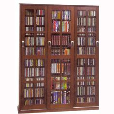 Walnut Cd Dvd 2 Piece Storage Cabinet With Sliding Doors