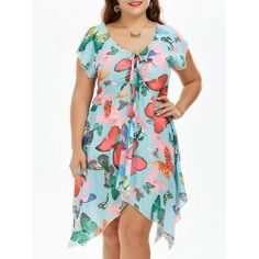 Plus Size Butterfly Print Handkerchief Chiffon Dress Plus Clothing, Clothing Sites, Trendy Plus Size Clothing, Cheap Dresses, Plus Size Dresses, Plus Size Outfits, Blue Chiffon Dresses, Short Sleeve Dresses, Butterfly Print Dress