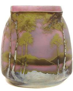An Art Nouveau Mueller Frères cameo glass landscape vase, signed Muller Freres Luneville.
