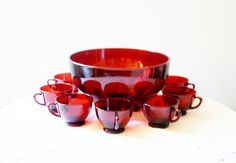Anchor Hocking Red Glass Bowl Salad Punchbowl by RomantiqueTouch