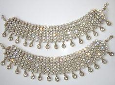 Gold tone Beads Crystal studded Designer Anklet pair