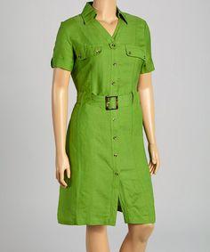 Another great find on #zulily! Green Belted Shirt Dress - Plus #zulilyfinds