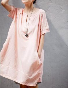 Pink loose cotton  Shirt  top / Cotton dress  / Linen Women Blouse via Etsy