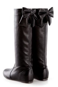 Bow-Accent Cutout Tall Boots (black)
