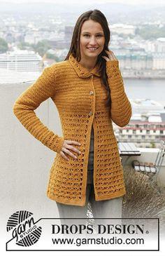 Women - Free knitting patterns and crochet patterns by DROPS Design Cardigan Au Crochet, Gilet Crochet, Crochet Coat, Crochet Jacket, Cardigan Pattern, Knit Jacket, Crochet Shawl, Crochet Clothes, Pull Crochet