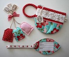 #PatchworkPottery quilted gifts #AquaRed #Quilted