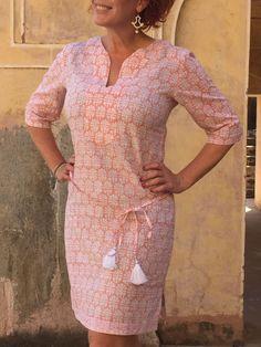 Tunic Dress, Cotton - TIFFANY JAIPUR - block printed- Summer House NZ