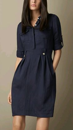 Burberry, womens blue heritage tulip dress