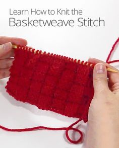 What looks like woven fabric and can be made with two knitting needles and a ball of yarn? The basketweave stitch! Learn this easy knitting pattern.