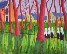 Bruges III : Béguinage de Bruges à l'acrylique sur toile.