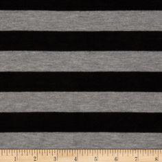 Rayon Blend Jersey Knit Stripes Black/Grey