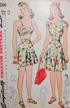 40s Beachwear Pattern Simplicity 4266 Bathing Suit and Dress In 2 Lengths Forties Pinup Style Swimsuit Bust 32 Vintage Sewing Pattern UNCUT
