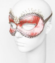 Beaded Pink & Silver Masquerade Mask   Venetian Style by SOFFITTA