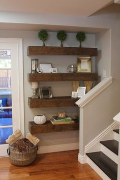 Diy wall shelves for bathroom small bathroom storage ideas practically clip Wall Bookshelves, Bookshelf Design, Diy Wall Shelves, Corner Shelves, Bookcase, Decorating Your Home, Diy Home Decor, Room Decor, Wall Shelving Systems