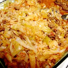 Cabbage Roll Casserole.  Believe it or not...this stuff is awesome.  I hate cooked cabbage, won't touch it, but this dish is really super good!  It's almost like an (American) spanish rice.