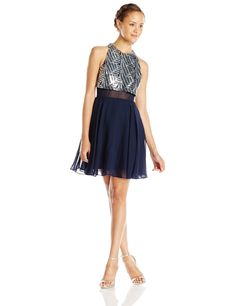 Speechless Juniors' Sleeveless Chiffon Short Prom Dress with Sequin Popover Top